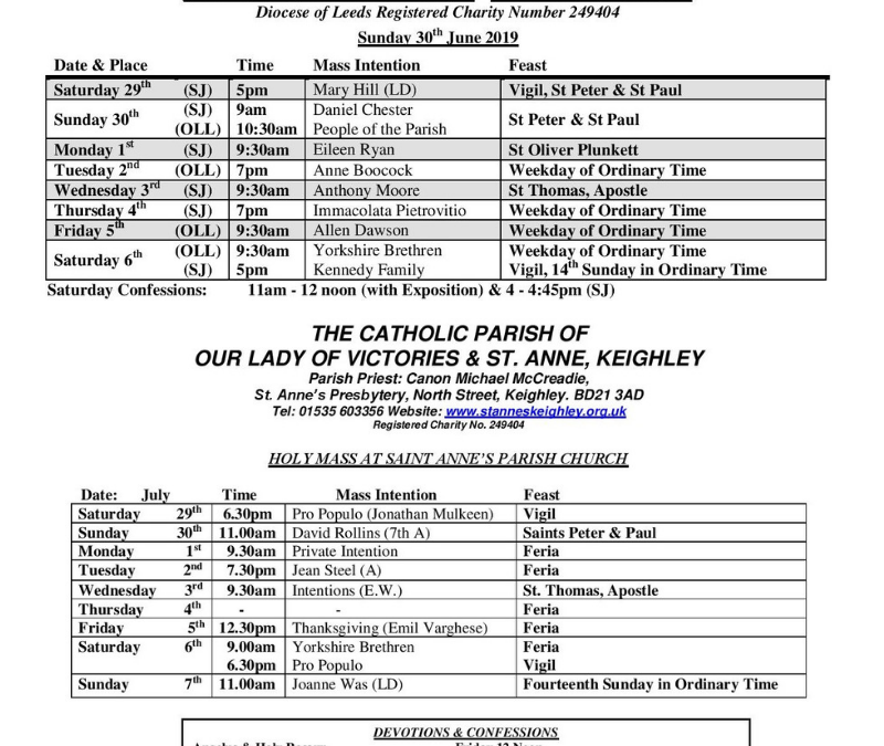Mass Times for the Week | Our Lady & St Joseph