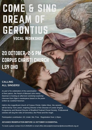 COME AND SING DREAM OF GERONTIUS: 20th October; 1:30 pm – 5:00 pm.