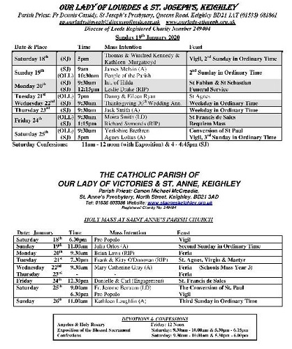 Mass Times for the week