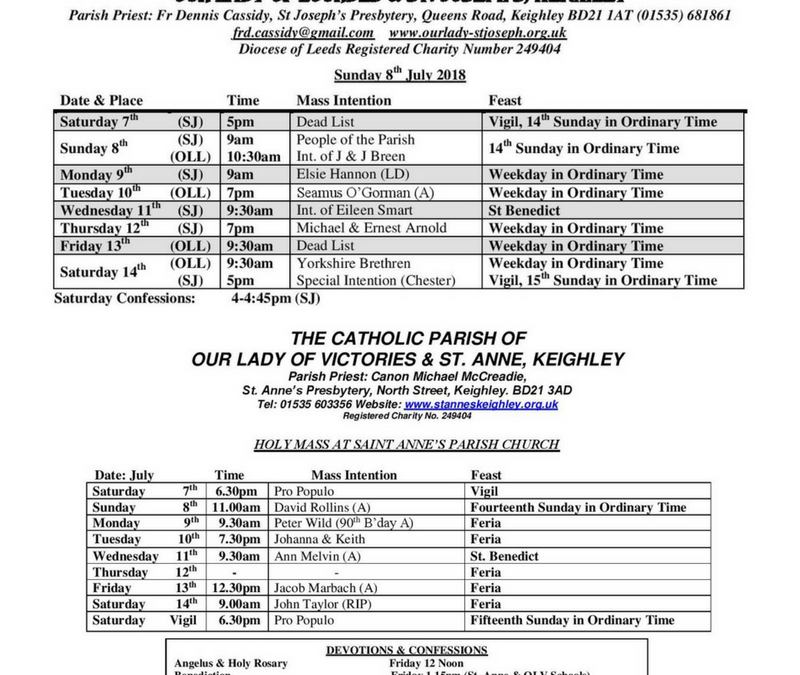 Mass Times during the week