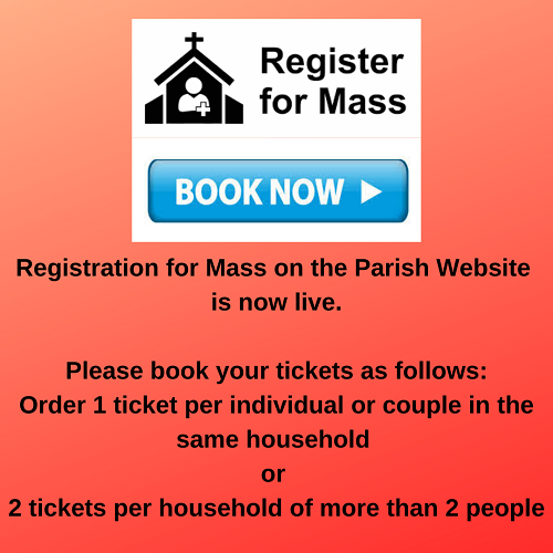 Registration for Mass on the Parish Website
