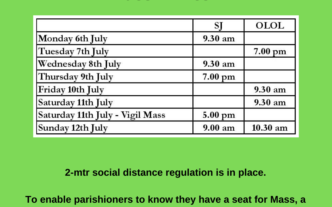 Resumption of Public Masses from Monday 6th July