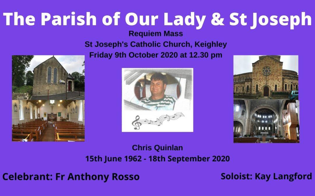 Requiem Mass for Chris Quinlan – 9th October 2020